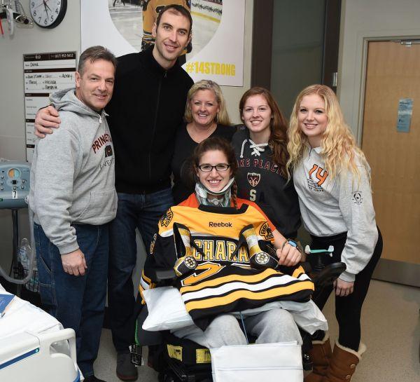 Bruins captain pays surprise visit to Denna Laing - The Boston Globe