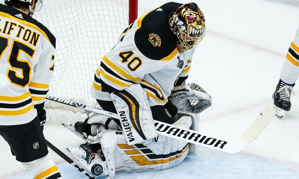 ST. LOUIS, MO - JUNE 03: Boston Bruins goaltender Tuukka Rask (40) makes a skate save on a shot during the first period of Game 4 of the NHL Stanley Cup Finals hockey game between the St. Louis Blues and the Boston Bruins
