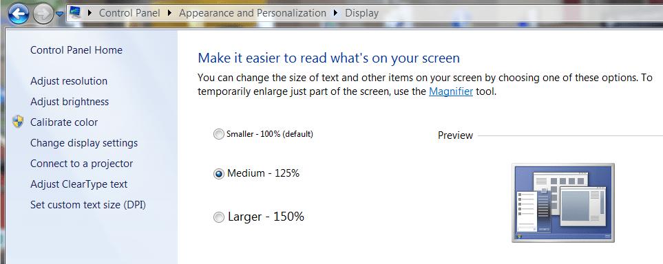 Maker Text Bigger - Windows 7