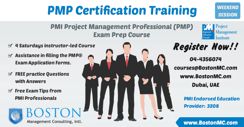 PMP Training in Dubai. PMP Weekend and Evening Classes Session