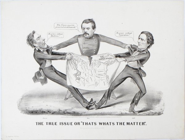 A terrific cartographic cartoon of the Civil War - Rare ...