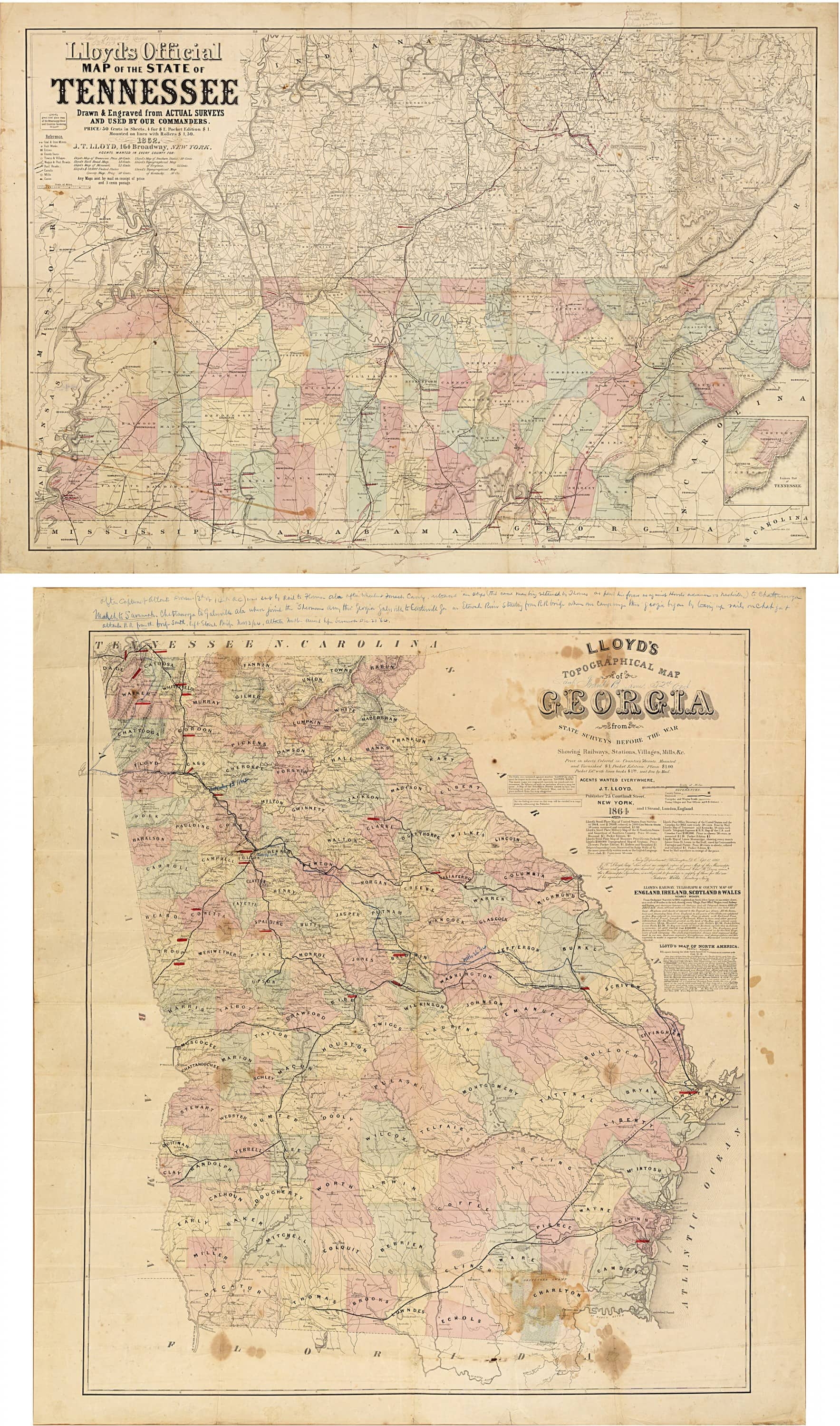 Important Civil War Era Maps Of Tennessee And Georgia