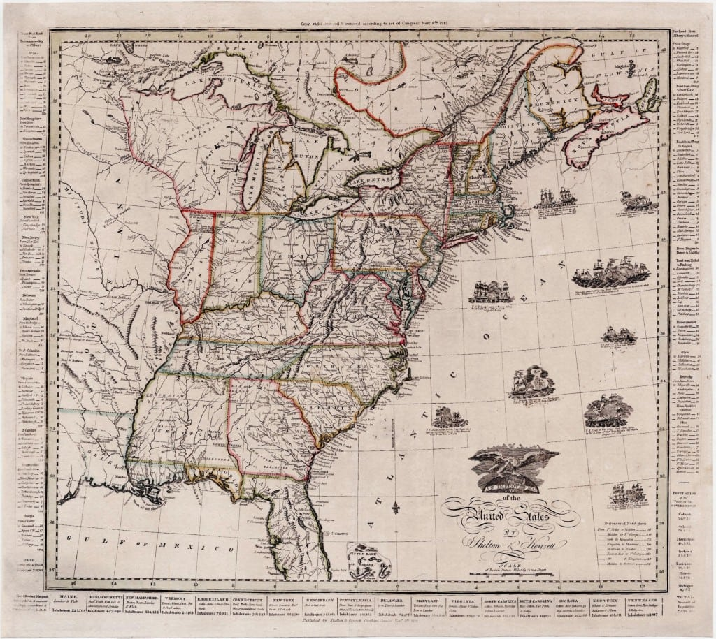 Patriotic Improved Map Of The United States From The War