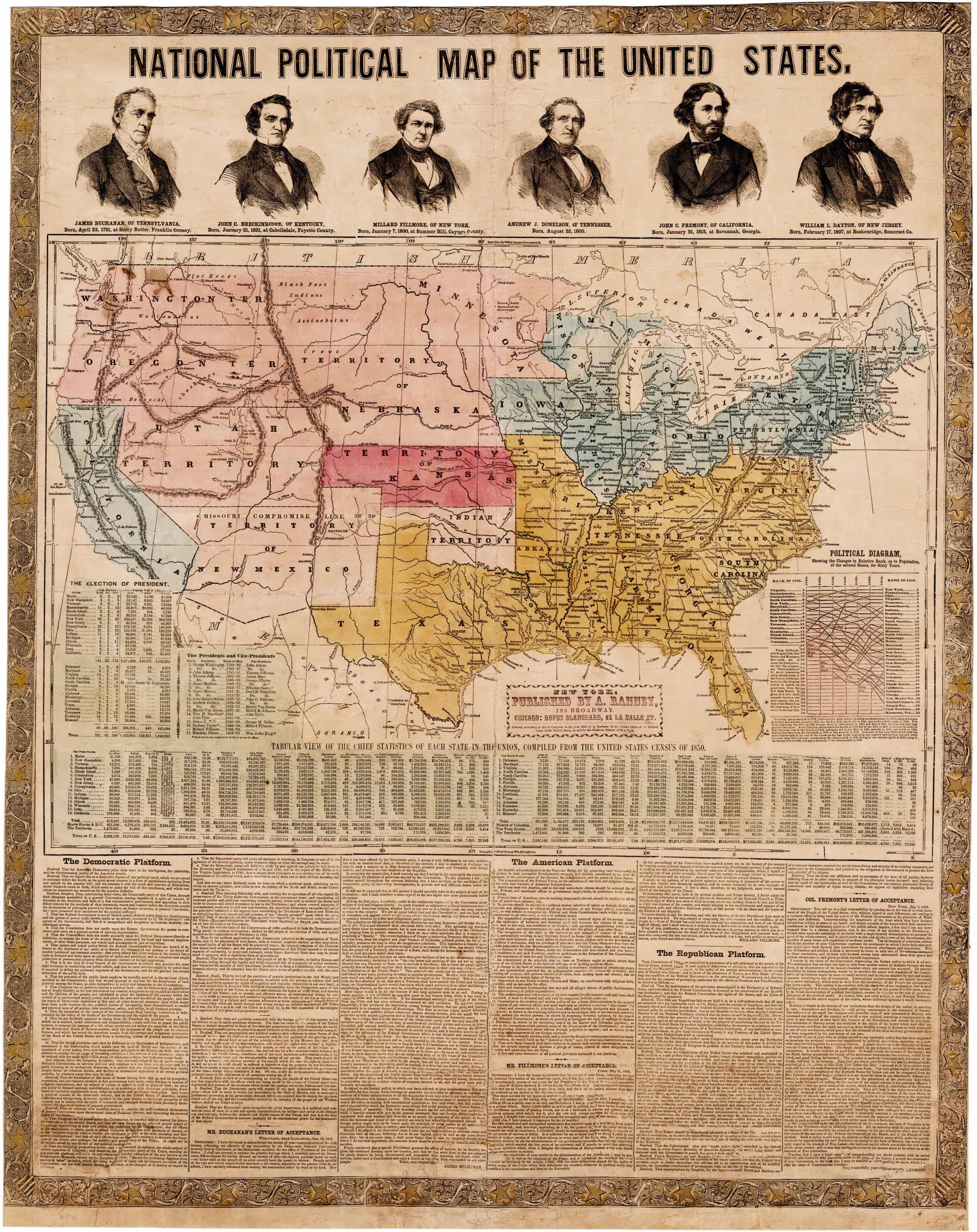 National Political Map documenting the high stakes Election of 1856     National Political Map documenting the high stakes Election of 1856