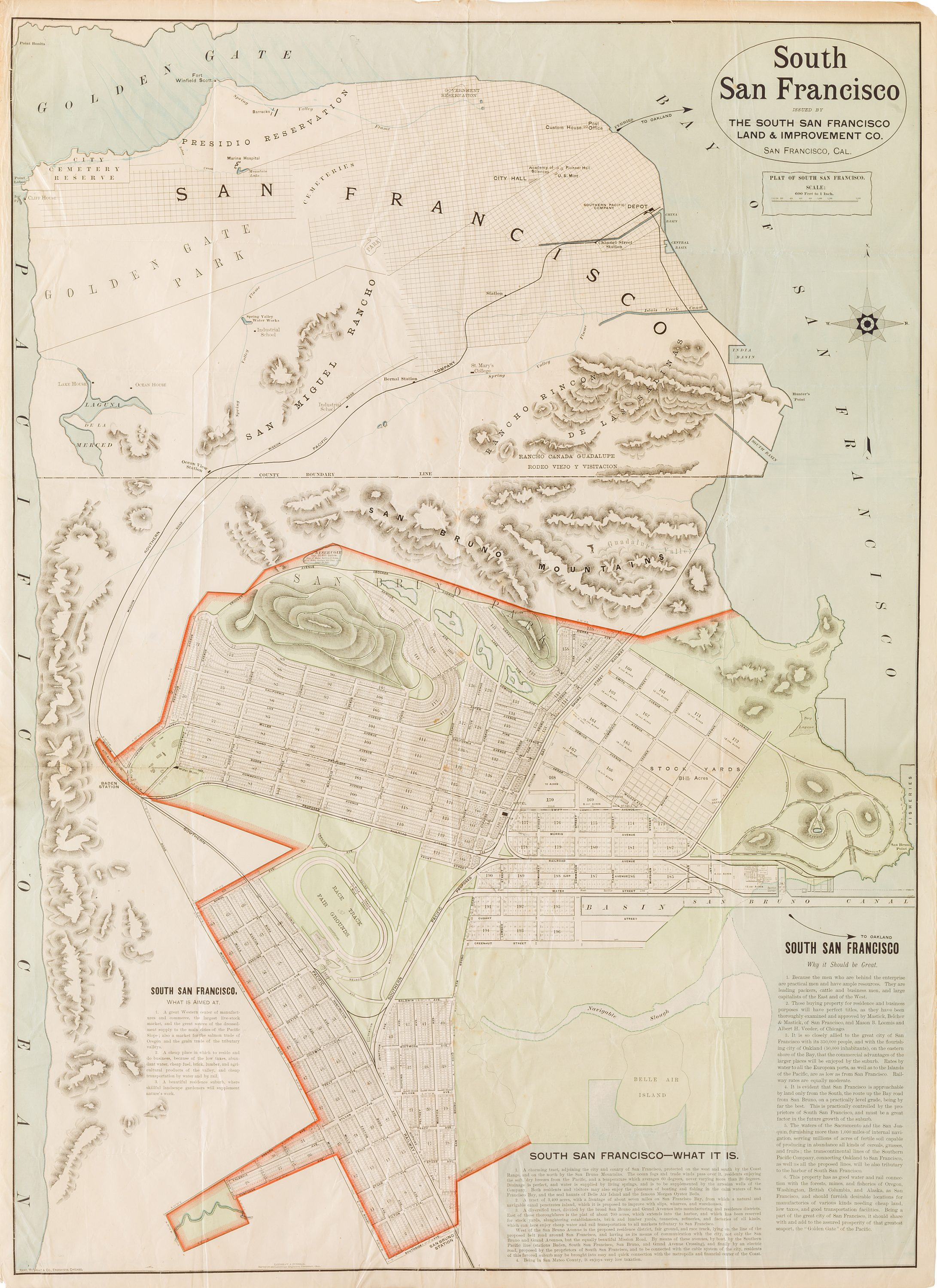 Rand Mcnally Map Promoting The Development Of South San Francisco Ca 1892 Rare Antique Maps