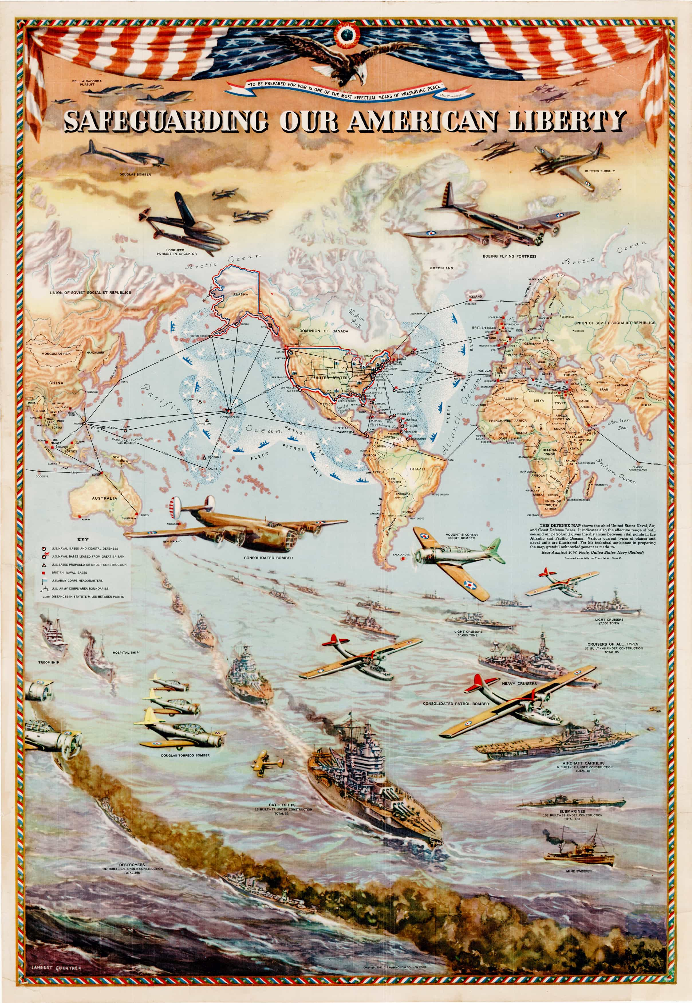 Pictorial Map Conveying American Military Might On The Eve