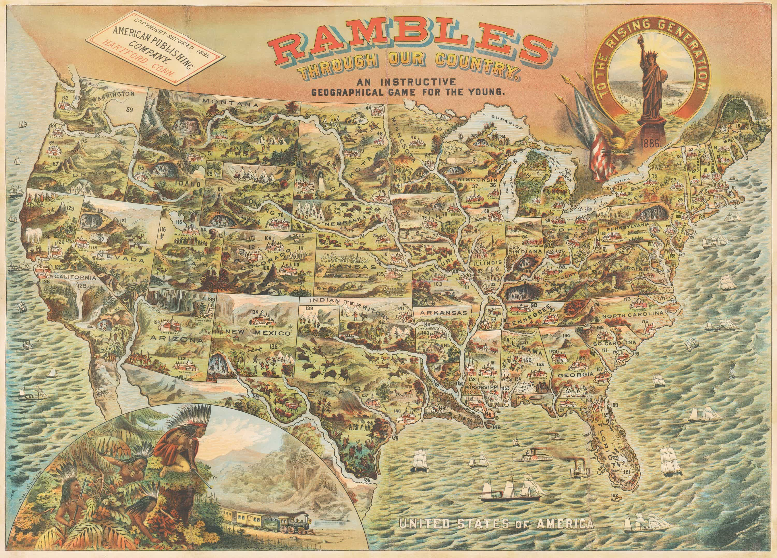 You will be randomly asked 30 of them: Rambles Through Our Country A Spectacular Pictorial Map Of The United States Rare Antique Maps