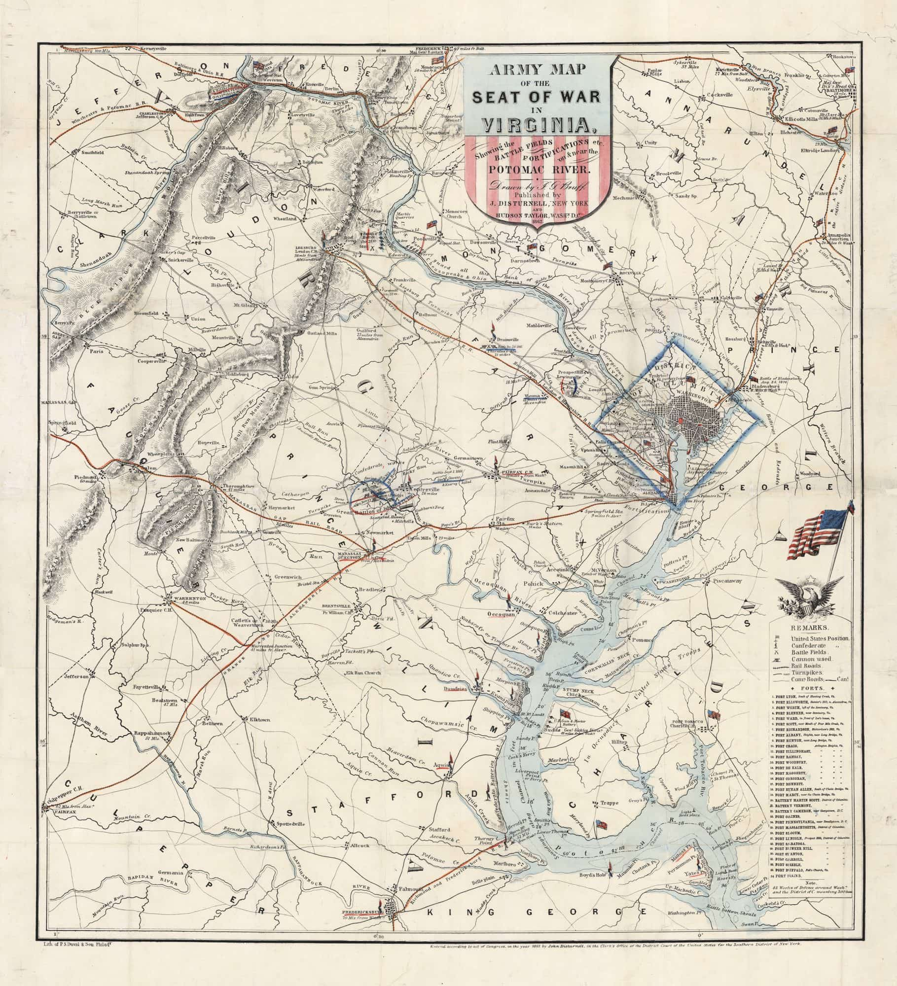A Rare And Patriotic Map Of The Seat Of War In