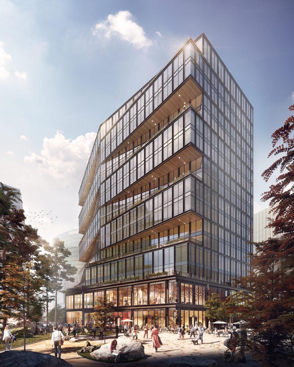 Rendering of Amazon's new office building in WS Development's Boston Seaportdevelopment
