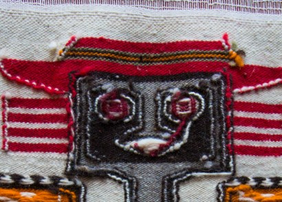 Tight detail of back of Peruvian tapestry using clasped weft technique