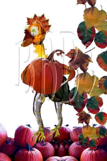 Gordy w/Pumpkins and Leaves
