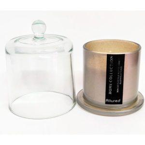 Vela Bomboniere Cinza com cúpula de vidro