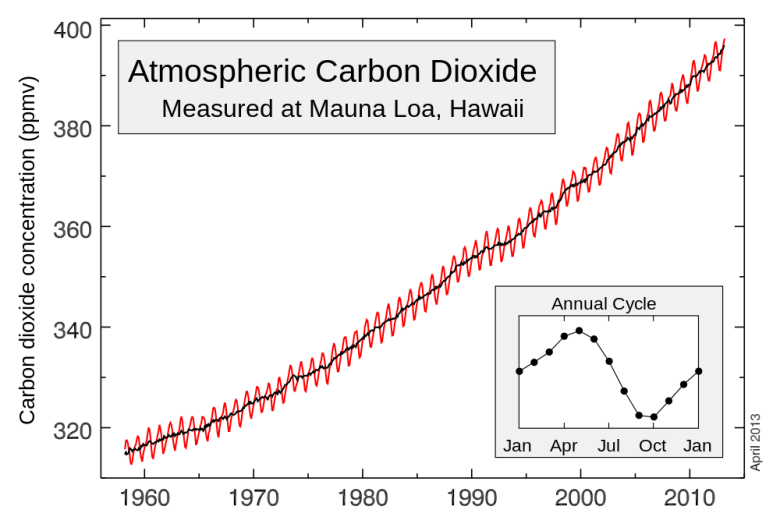 The Keeling Curve showing annual variation in CO2.