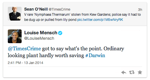 Louise Mensch can't see the point of a flower.