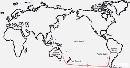Map with possible route to Peru and Chile