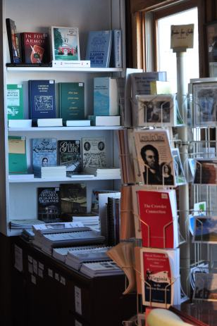 An array of books, pamphlets, cards, maps, and gifts in the Bookstore