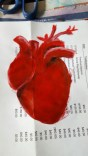 Somewhat fitting that the heart being mended was done on an invoice from Dr C. I was originally looking for something more vintage to paint it on, but found this instead.