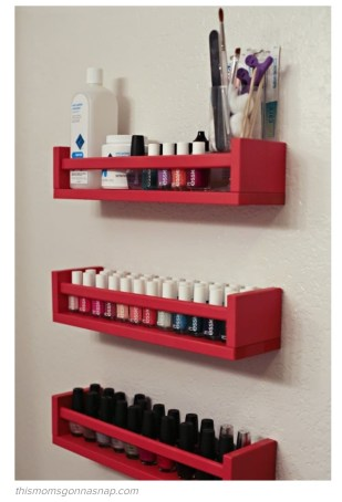 Love this spice rack fix for the nail polish onslaught. This is a problem 'we' have at home so may actually be doing this one sooner rather than later!