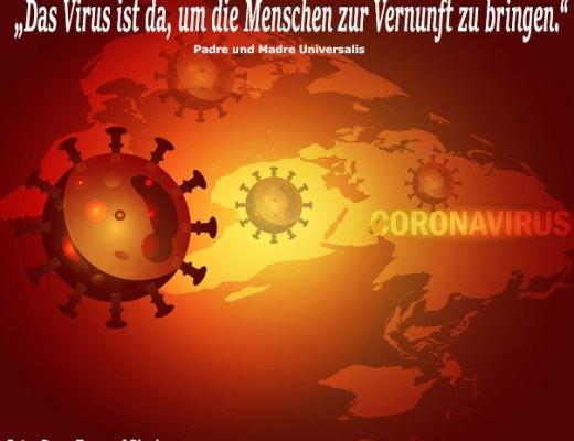 Das Virus vor einer Weltkarte