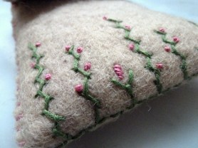 embroidered felt pouch close up