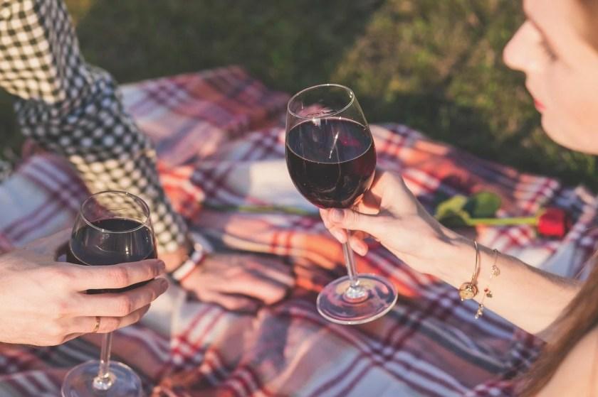 Ein Pärchen auf einer Picknickdecke, das mit einem Glas Rotwein anstößt
