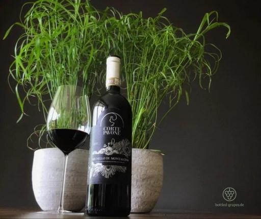 Brunello von Corte Pavone vor einer Grünpflanze und mit einem eingeschenkten Glas daneben