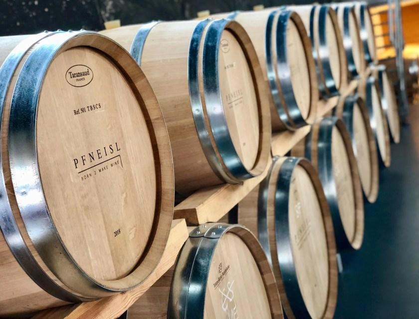 Holzfässer vom Weingut Pfneisl im Burgenland