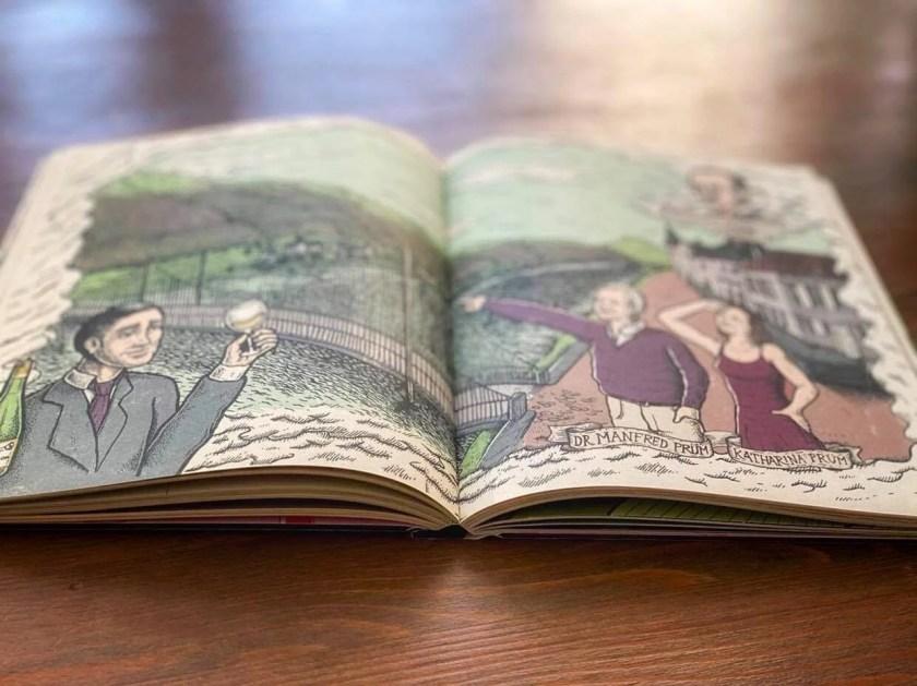 Doppelseitige Illustration aus dem Buch Gold in the vineyards
