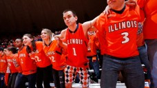 CHAMPAIGN, IL - FEBRUARY 1: Illinois Fighting Illini fans cheer against the Iowa Hawkeyes during the first half of the game at State Farm Center on February 1, 2014 in Champaign, Illinois. (Photo by Joe Robbins/Getty Images)