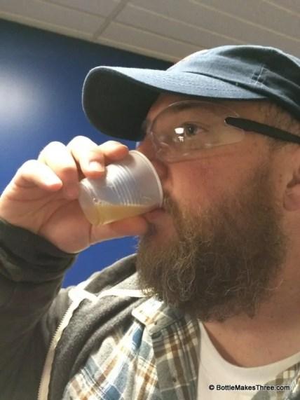 "Tasting some unfiltered, Bud Light ""Chip Beer"" at the Budweiser Tour, Fort Collins Co | BottleMakesThree.com"