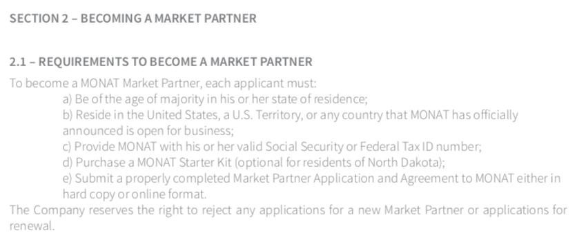 Monat Market Partner requirements