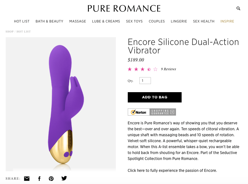Pure Romance Hot List product - dual action vibrator