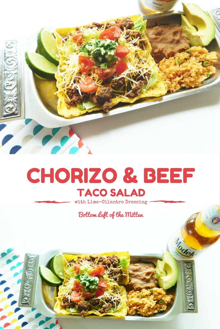 Beef & spicy chorizo tucked into taco flats then layered with lettuce, tomatoes, green onions and cheese.  Top with some delicious Lime-Cilantro Dressing for an extra kick.  #tacosalad #chorizo #salad #fiesta