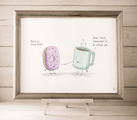 Donut + Coffee Art Print