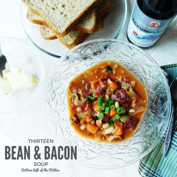 Thirteen Bean & Bacon Soup in a bowl ready to eat!