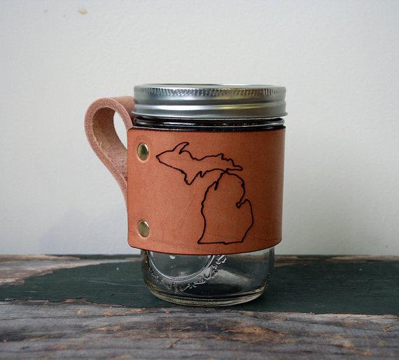 Leather Jar Wrap | Little Wing Designs