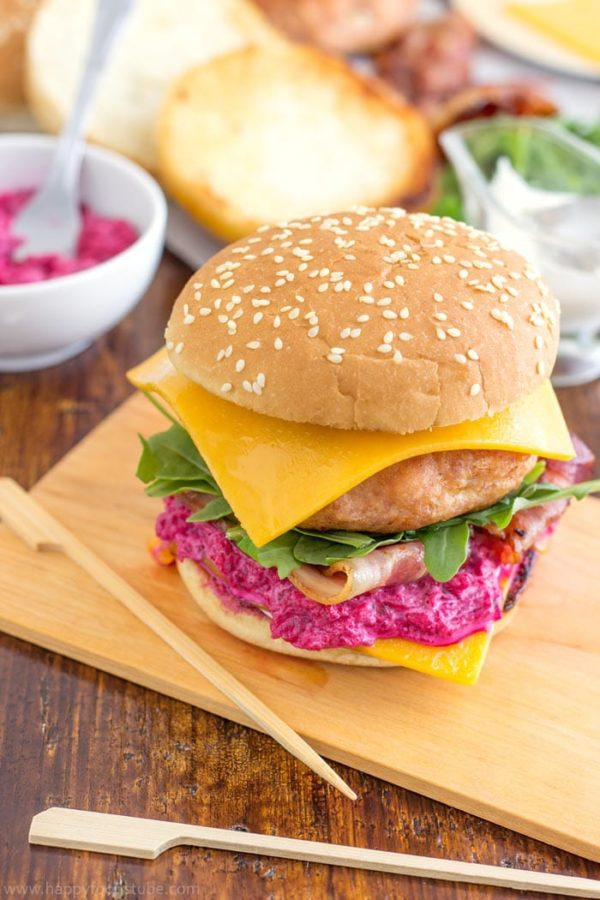 Chicken Cheeseburger with Beet Mayo from Happy Foods Tube   'Celebrate with 8' Burgers That Aren't Beef   Bottom Left of the Mitten