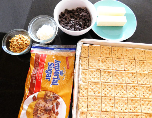 Ingredients ready to make Cracker Candy.