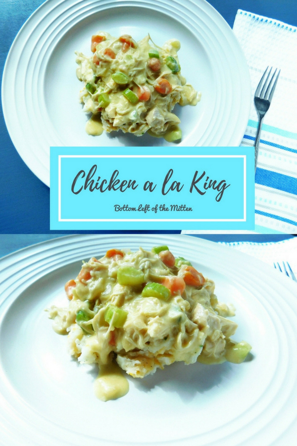 Chicken a la King. Creamy chicken, crunchy vegetables then ladled on top of cheesy potatoes make for the ultimate comfort food.  Make it for your family tonight. #chickenalaking #chicken #comfortfood #quickandeasyrecipe #easyrecipe #kidfriendly #dinnerideas #chickenrecipes #dinner #recipeideas #dinnerrecipes #homecooking