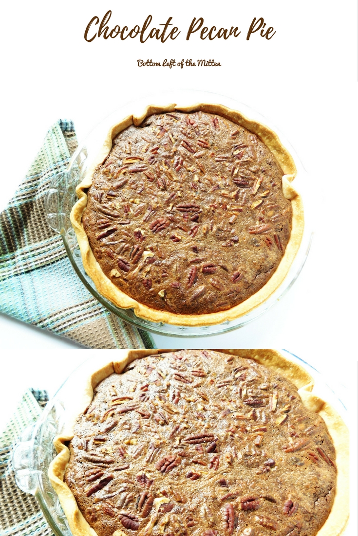 Chocolate Pecan Pie | Bottom Left of the Mitten #pierecipe #holidaypie #chocolate