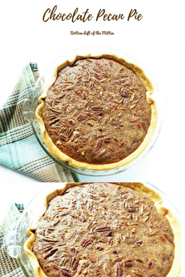 A crisp, crunchy top with pecans make way for a fudge center then finally flaky pie crust.  This pie is close your eyes and give a sigh good. #pie #pecanpie #dessert #holidaypie