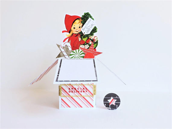 Vintage Little Girl Pop-Up Christmas Gift Card from MJsKraze | Made in Michigan Holiday Gift List | Bottom Left of the Mitten