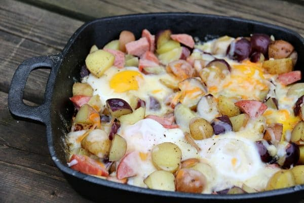 Camping Breakfast Skillet from Family, Food & Travel | 'Celebrate with 8' Camping Fun | Bottom Left of the Mitten