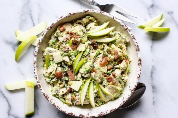 Shaved Brussels Sprouts & Apple Salad from Kitchen of Youth | Celebrate with 8 National Salad Month | Bottom Left of the Mitten