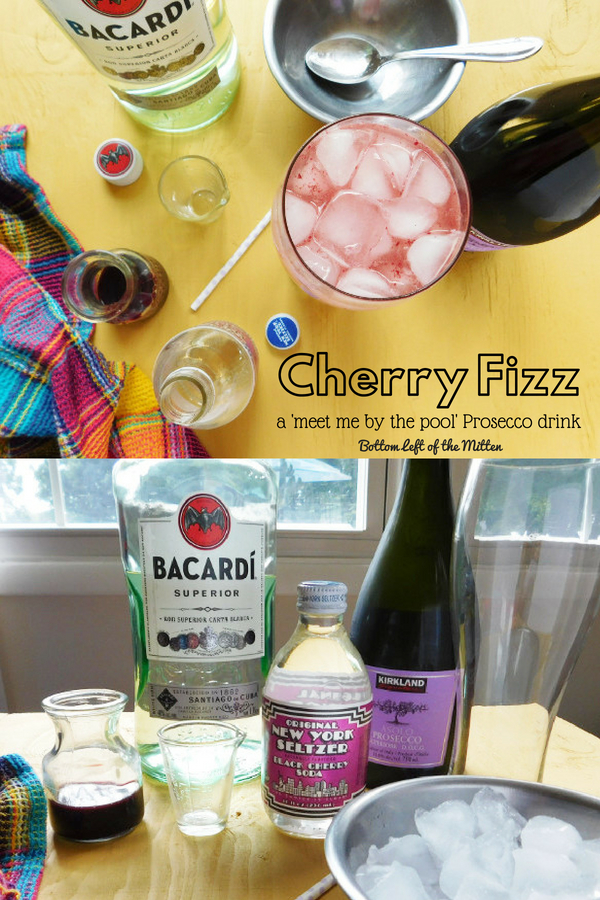 Seltzer, prosecco, white rum and cherry simple syrup make this Cherry Fizz a bubbly drink that's perfect for hanging out by the pool. #cocktail #summer #prosecco #cherry #simplesyrup #seltzer #drink #cherrysimplesyrup #cocktailrecipe #summerdrink #rumcocktail #rum