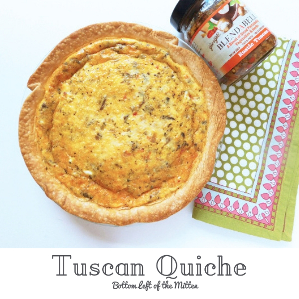 Tuscan Quiche in the pie plate with BLENDABELLA off to the side.