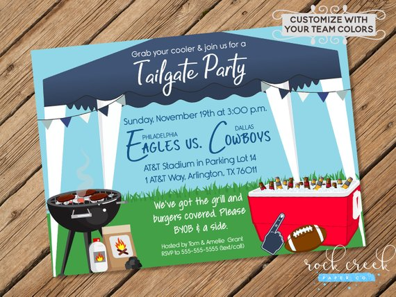 Tailgate Party Invitation from RockCreekPaperCo | Celebrate with 8 for Game Day | Bottom Left of the Mitten