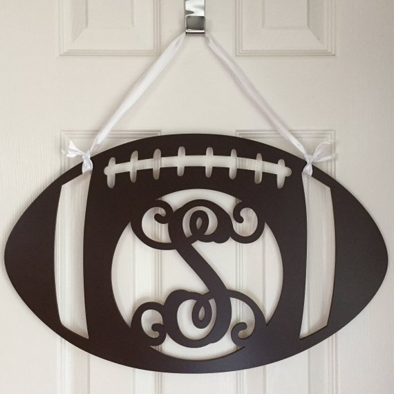 Monogram Football Door Hanger from AdoreYourDoorDecor | Celebrate with 8 for Game Day | Bottom Left of the Mitten