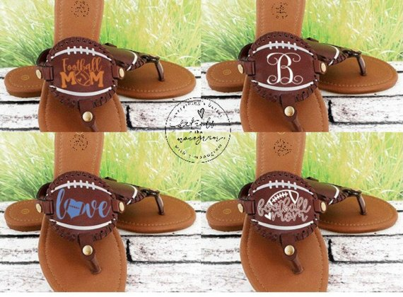 Monogrammed Football Sandals from DetailsintheMonogram | Celebrate with 8 for Game Day | Bottom Left of the Mitten