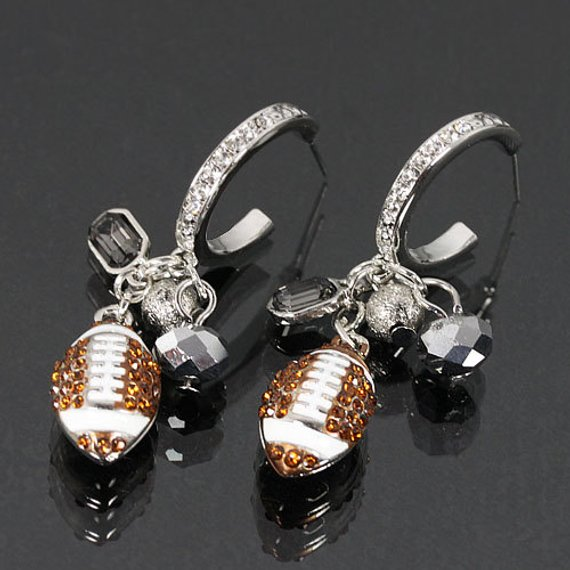 Football Rhinestone Earrings from CoHoBags | Celebrate with 8 for Game Day | Bottom Left of the Mitten